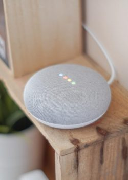google home mini on brown board
